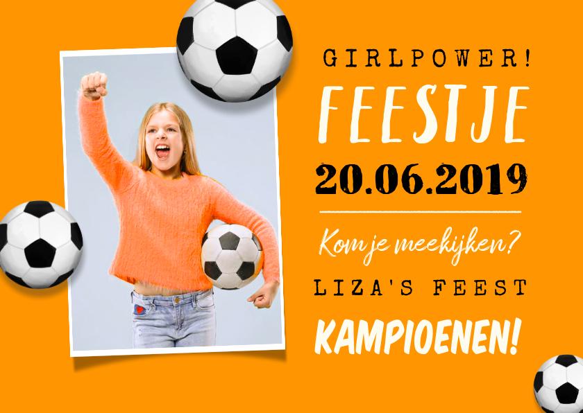 Kinderfeestjes - Uitnodiging kinderfeestje voetbal EK oranje foto
