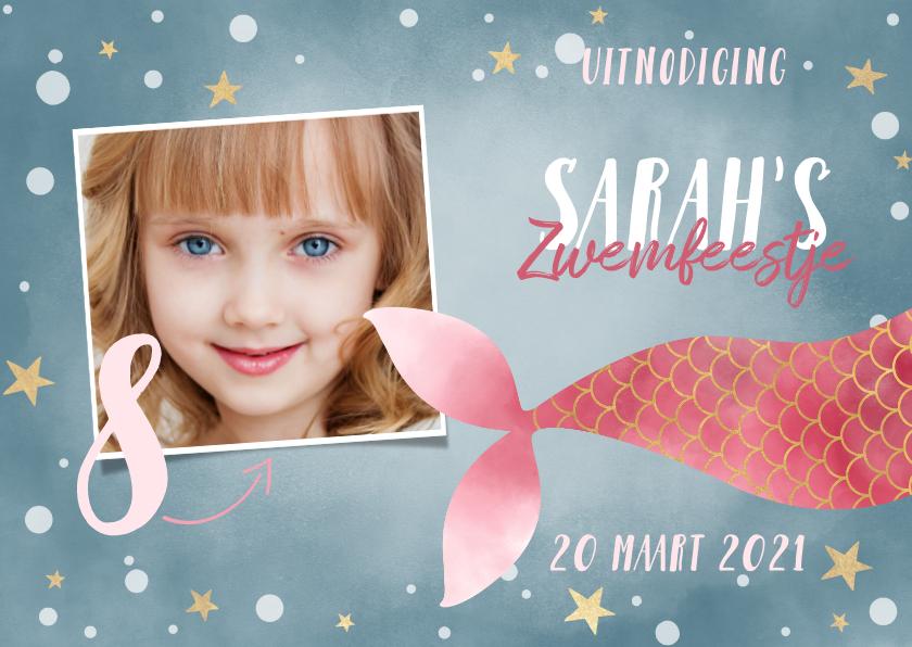 Kinderfeestjes - Uitnodiging kinderfeestje voor zwemfeestje met zeemeermin