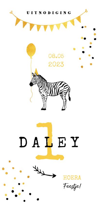 Kinderfeestjes - Uitnodiging kinderfeestje zebra ballon slinger goud geel