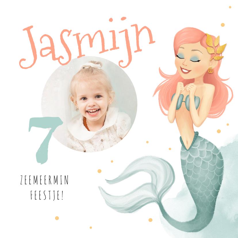 Kinderfeestjes - uitnodiging kinderfeestje zeemeermin met foto