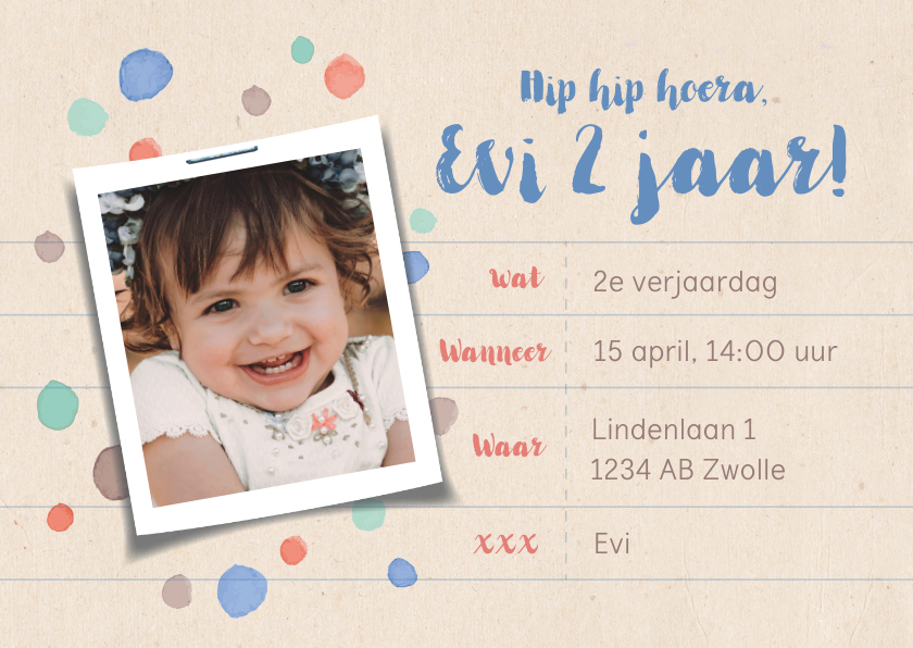 Kinderfeestjes - Uitnodiging kinderverjaardag eigen foto en kleurenspetters