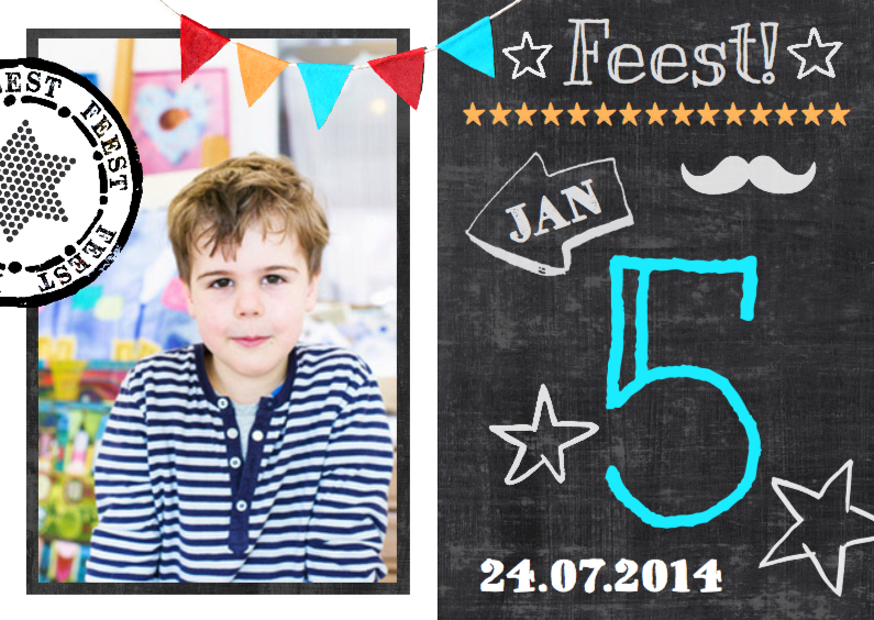 Kinderfeestjes - uitnodiging krijtbord leeftijd