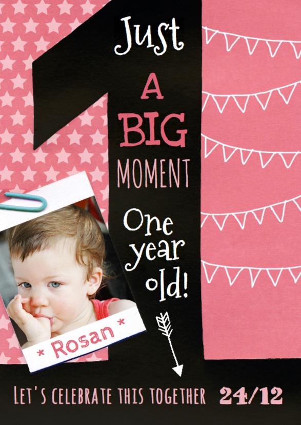 Kinderfeestjes - Uitnodiging meisje 1 jaar krijt