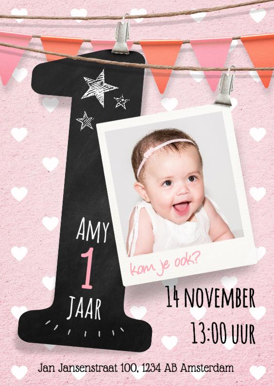 Uitnodiging meisje 1 jaar kinderfeestjes kaartje2go - Baby meisje idee ...
