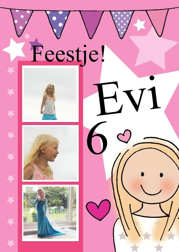 Kinderfeestjes - Uitnodiging meisje Evi