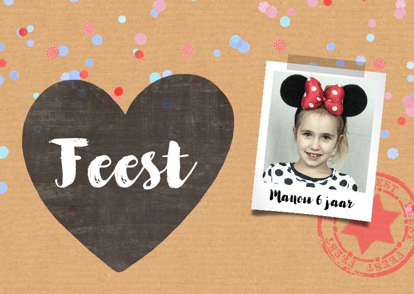 Kinderfeestjes - Uitnodiging meisje karton confetti