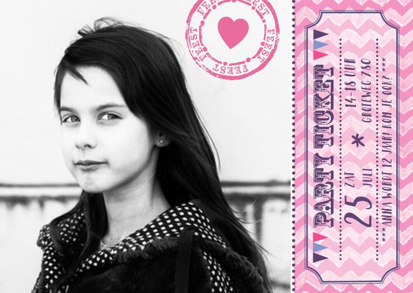 Kinderfeestjes - Uitnodiging meisje ticket
