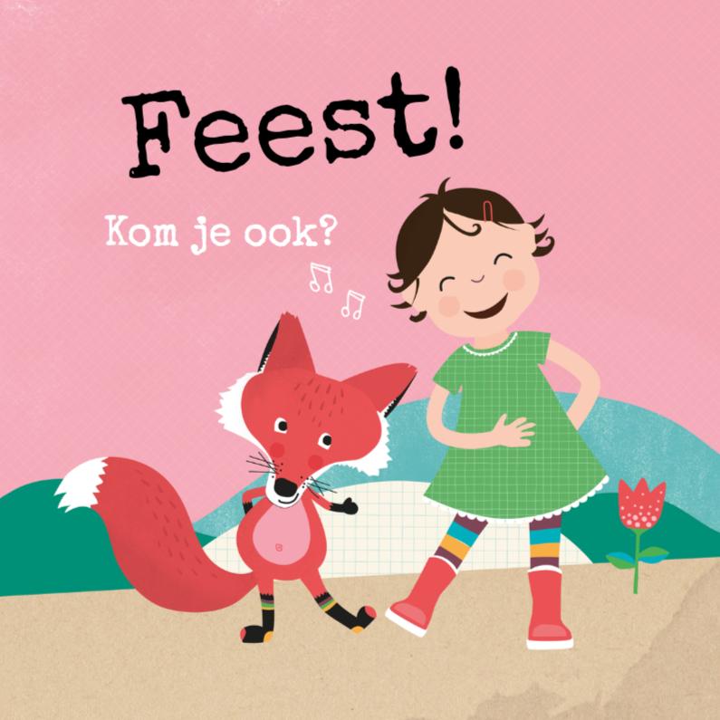 Kinderfeestjes - Uitnodiging met een vos