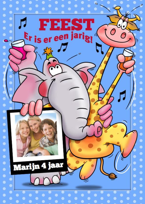 Kinderfeestjes - Uitnodiging met giraf foto - HE