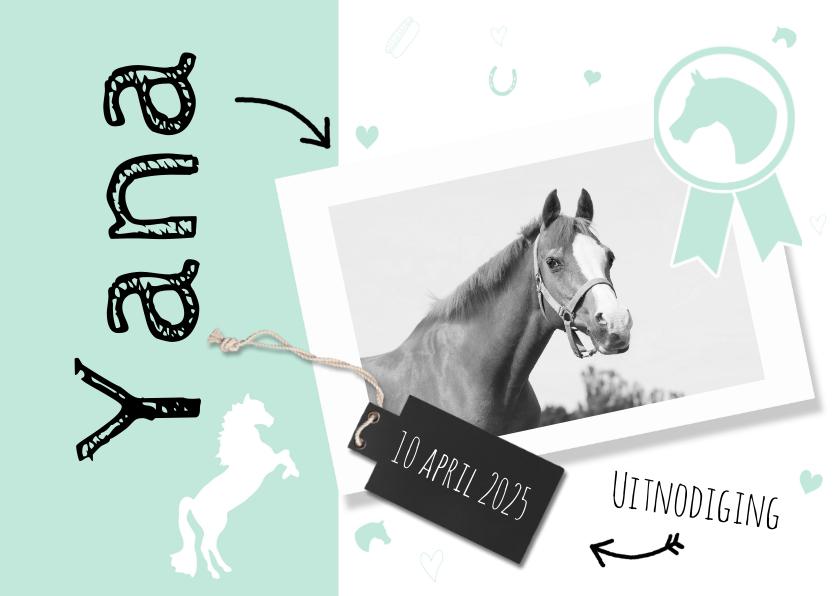 Uitnodiging paardenfeestje mint 1