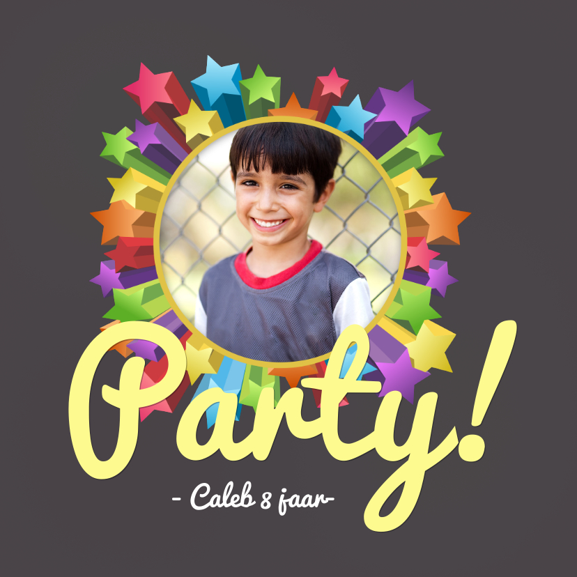 Kinderfeestjes - Uitnodiging party sterren hip