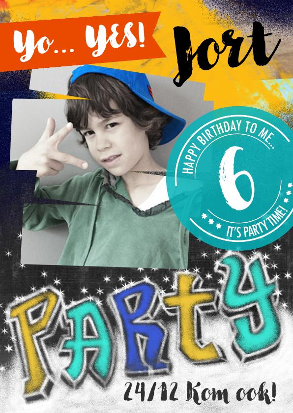 Kinderfeestjes - uitnodiging party stoer