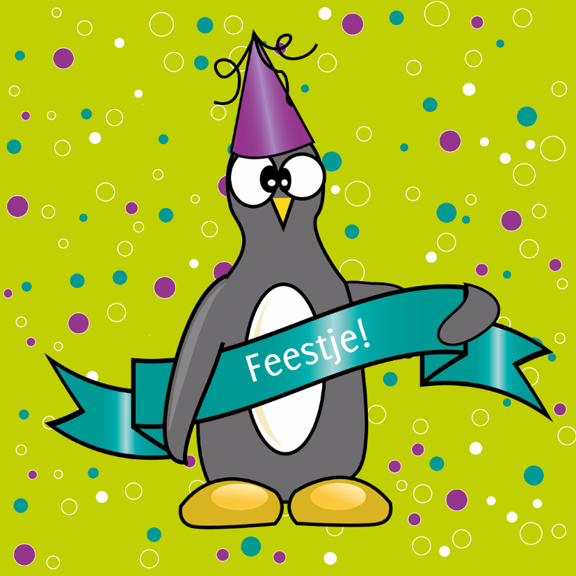 Kinderfeestjes - uitnodiging pinguin - SZ