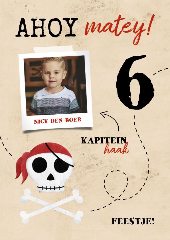Kinderfeestjes - Uitnodiging piratenfeestje met foto en schedel