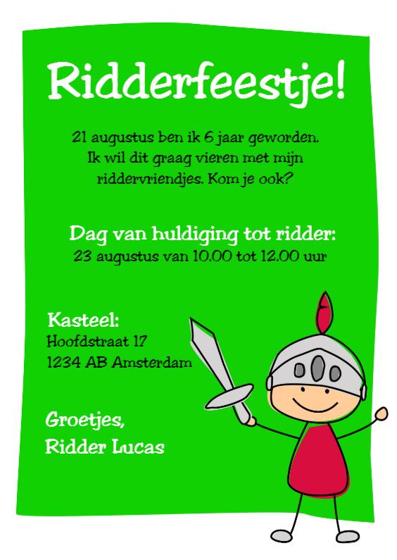 Kinderfeestjes - Uitnodiging ridderfeestje