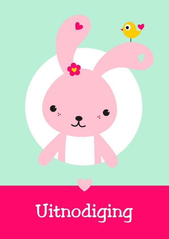 Kinderfeestjes - Uitnodiging - Roze konijntje in cirkel