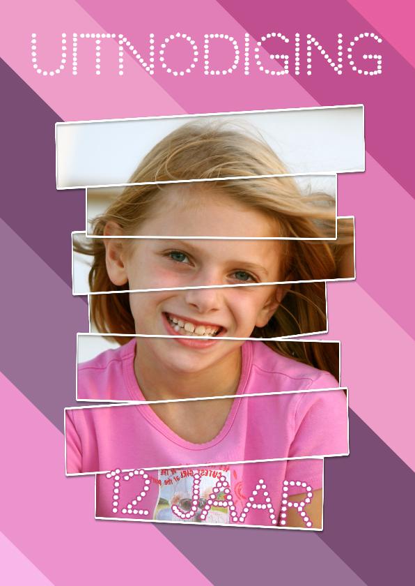 Kinderfeestjes - Uitnodiging roze streepjes - BK