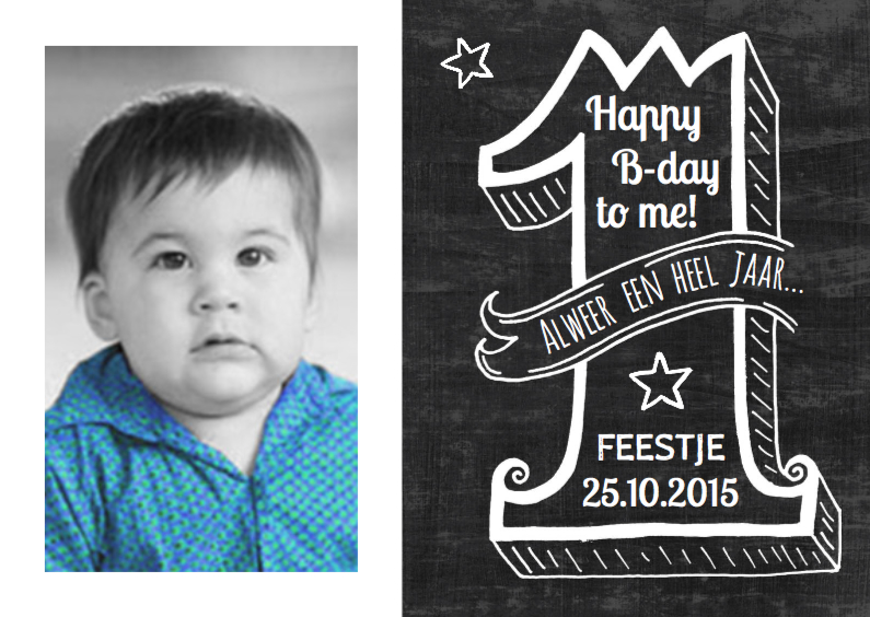 Kinderfeestjes - Uitnodiging Schoolbord 1 jaar