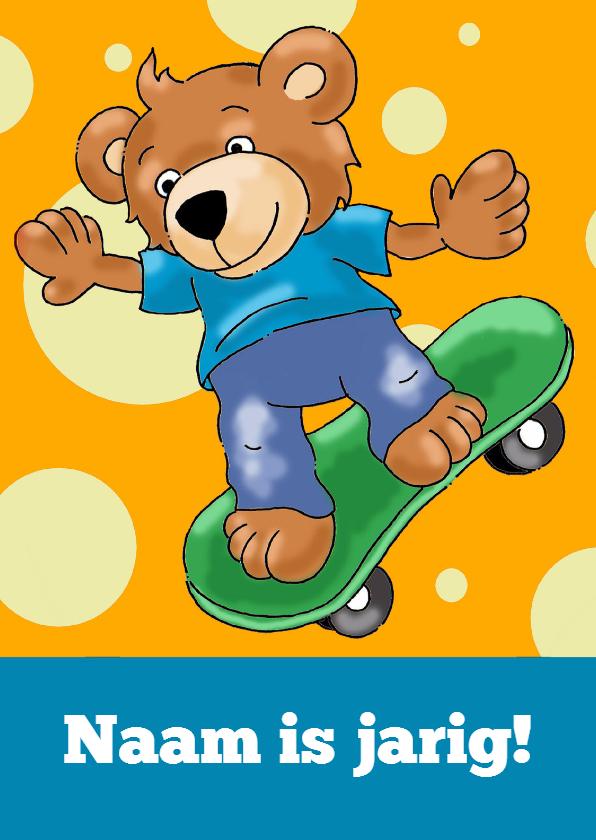 Kinderfeestjes - Uitnodiging skateboard beertje