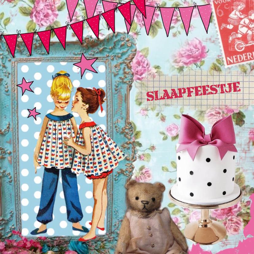 Kinderfeestjes - Uitnodiging slaapfeestje meisje