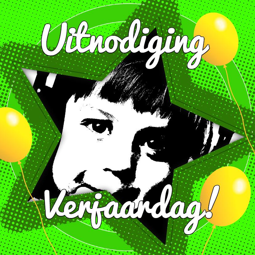 Kinderfeestjes - Uitnodiging ster groen - BK