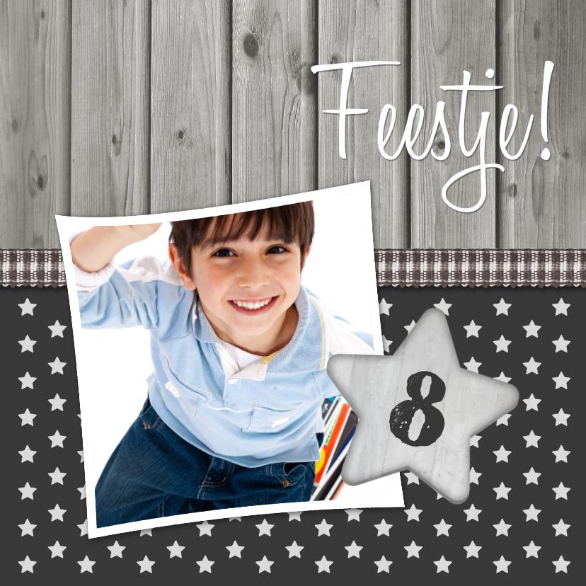 Kinderfeestjes - Uitnodiging Sterren Hout  1LS3