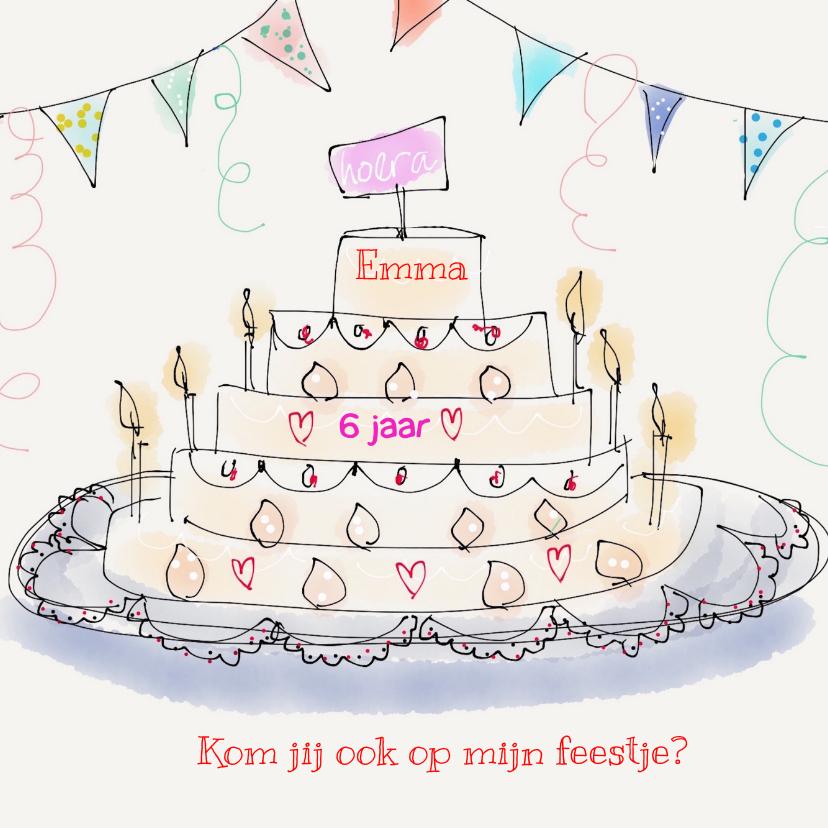 Kinderfeestjes - Uitnodiging taart kinderfeestje