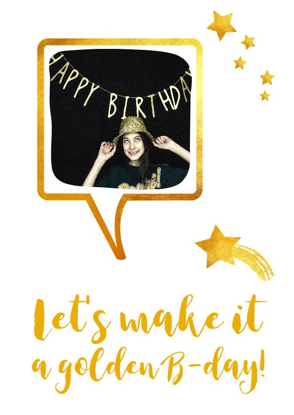 Kinderfeestjes - Uitnodiging tiener feest meisje goud foto