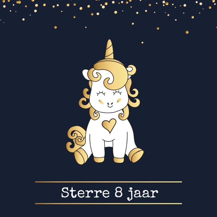 Kinderfeestjes - Uitnodiging Unicorn Goud