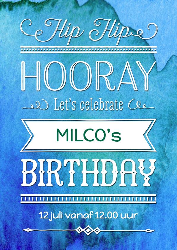 Kinderfeestjes - Uitnodiging verjaardag inkt blauw - OT