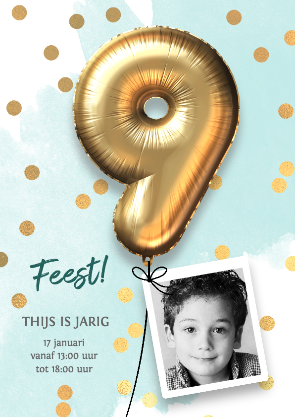 Kinderfeestjes - Uitnodiging verjaardag jongen 9 jaar