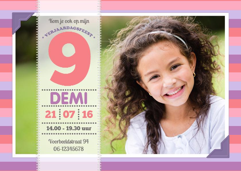 Kinderfeestjes - Uitnodiging verjaardag strepen
