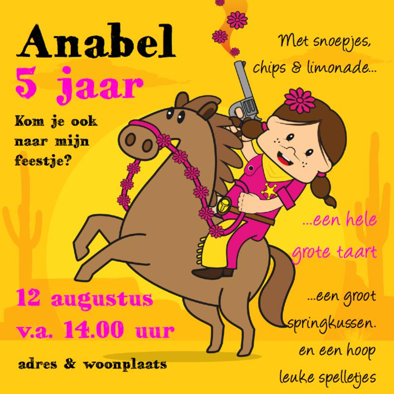 Kinderfeestjes - Uitnodiging Verjaardags feest cowgirl 93