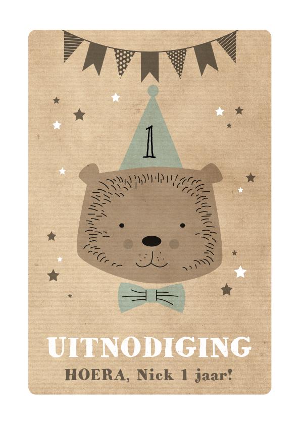 Kinderfeestjes - Uitnodiging verjaardagsfeestje beer 1 jaar