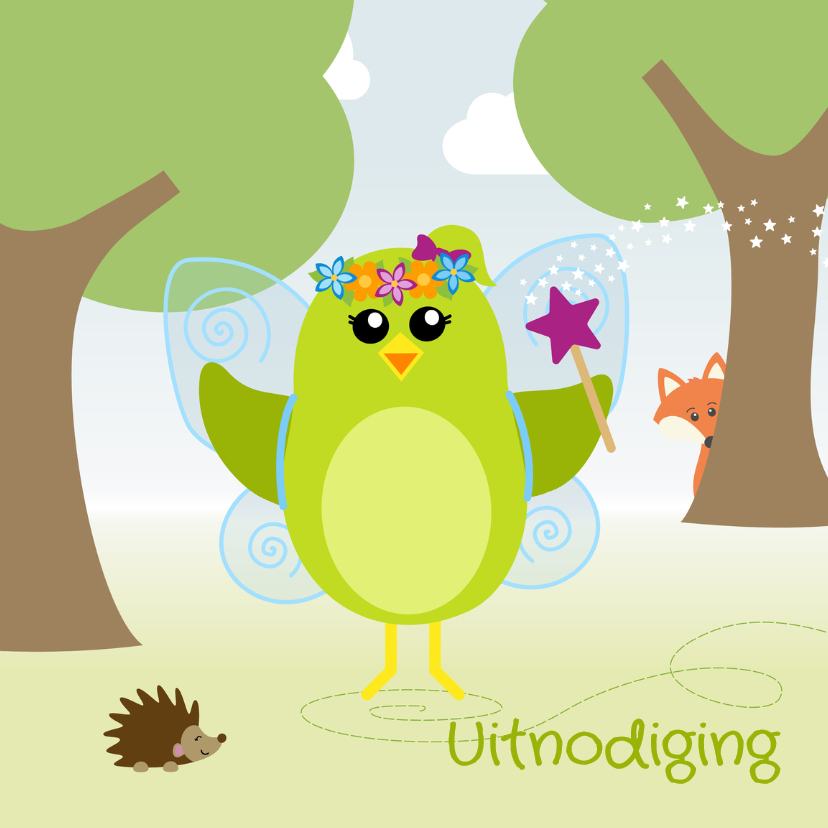 Kinderfeestjes - uitnodiging vogel als fee - DD