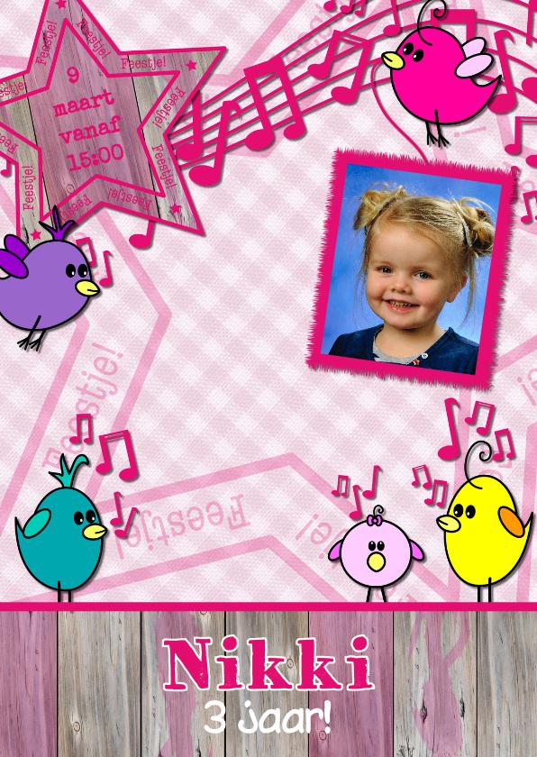 Kinderfeestjes - Uitnodiging vogeltjes en meisjes