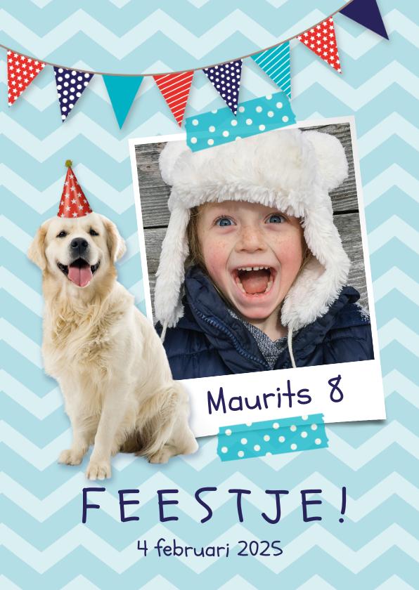 Kinderfeestjes - Uitnodiging voor een kinderfeestje foto en hondje