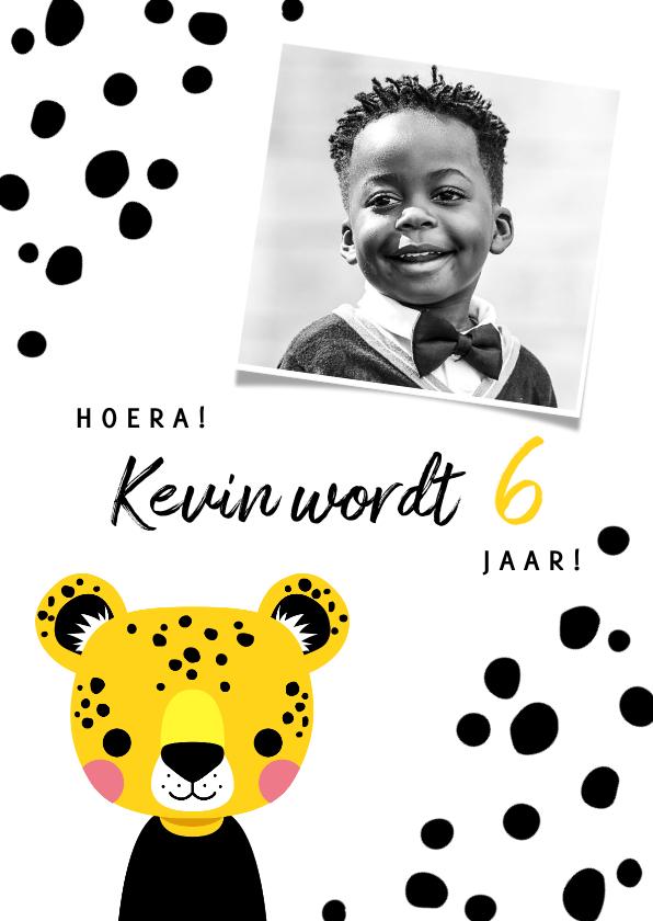 Kinderfeestjes - Uitnodiging voor een kinderfeestje met luipaard en vlekjes
