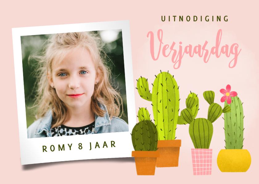 Kinderfeestjes - Uitnodiging voor een kinderfeestje met vrolijke cactussen