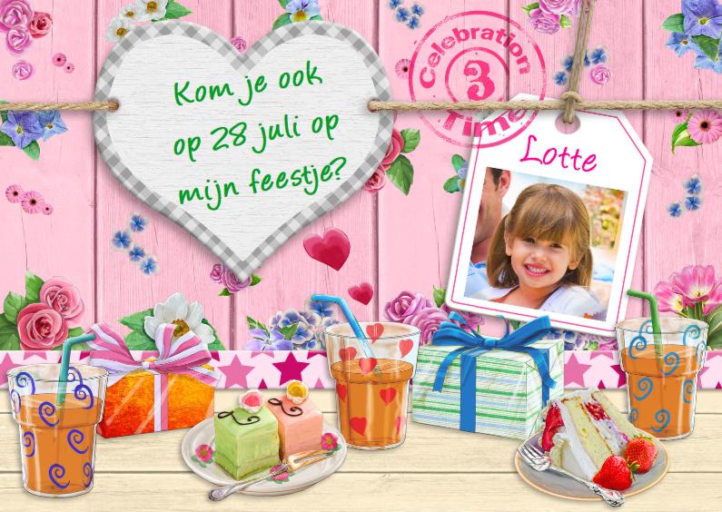 Kinderfeestjes - Uitnodiging voor feest van meisje met bloempjes en hart