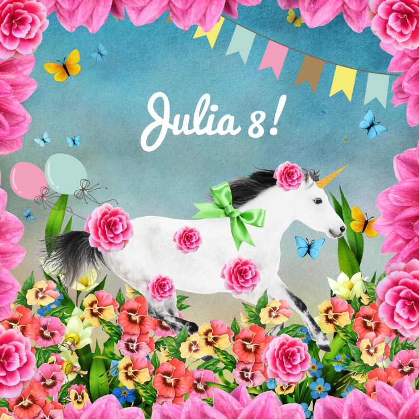Kinderfeestjes - Uitnodiging voor kinderfeestje met eenhoorn en bloemen