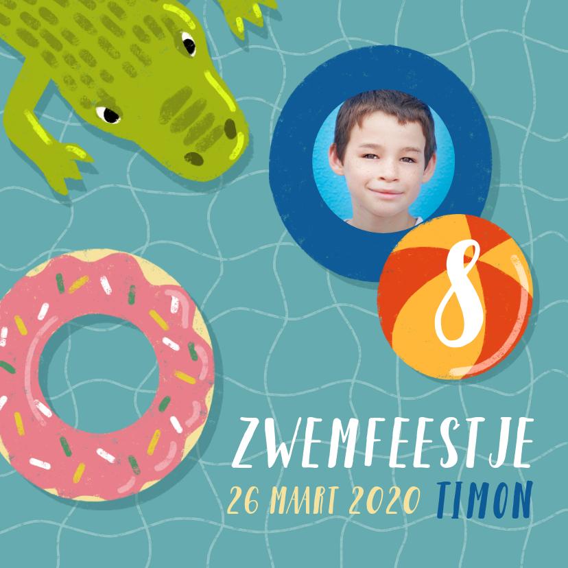 Kinderfeestjes - Uitnodiging voor zwemfeestje met zwemband, krokodil en foto