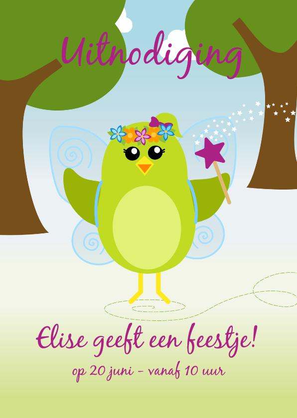 Kinderfeestjes - Uitnodiging vrolijk feetje danst door het bos - DD