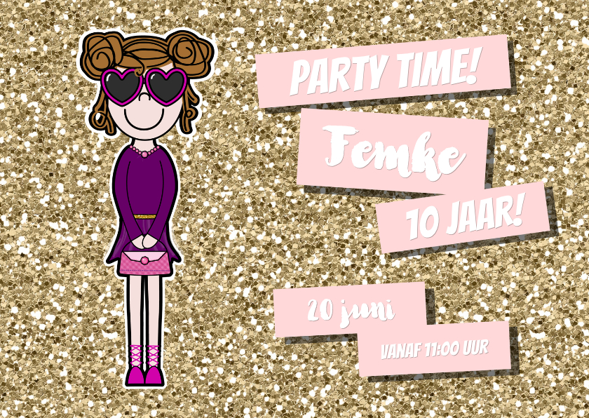 Kinderfeestjes - Uitnodiging vrolijke meiden kaart met glitter en glamour