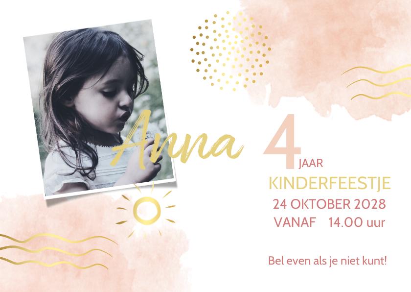Kinderfeestjes - Uitnodiging watercolor roze met goudlook