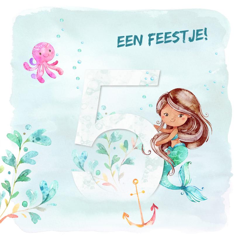 Kinderfeestjes - Uitnodiging zeemeermin 5e verjaardag