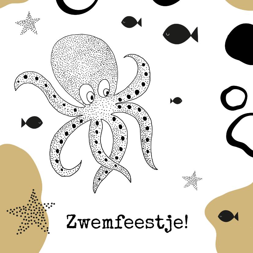 Kinderfeestjes - Uitnodiging zwemfeestje jongen inktvis