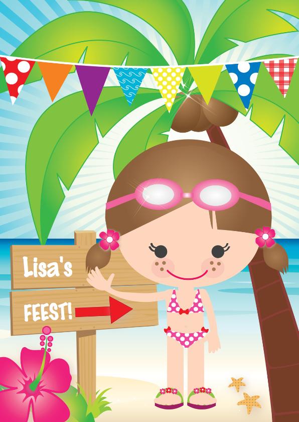 Kinderfeestjes - Uitnodiging zwemfeestje meisje