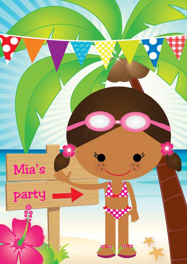Kinderfeestjes - Uitnodiging zwemfeestje Shante
