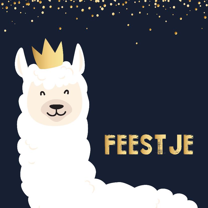Kinderfeestjes - Uitnodigingskaart Lama